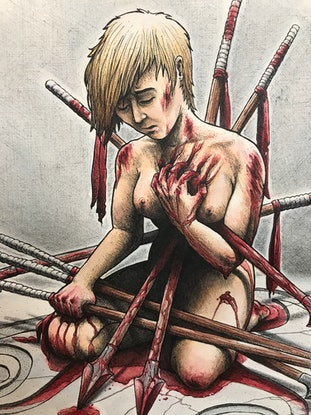 (CreativeWork) Weapon of Self-Destruction by Tara Hale. Mixed Media. Shop online at Bluethumb.