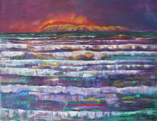 (CreativeWork) Fire Horizon by Robert Paul. Oil Paint. Shop online at Bluethumb.