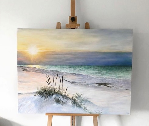 (CreativeWork) Lifes a beach  by Hailey Robertson. Acrylic Paint. Shop online at Bluethumb.