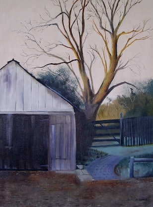 (CreativeWork) Wintry  Day by Basil Mitchell. Oil Paint. Shop online at Bluethumb.