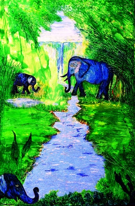 (CreativeWork) Elephant Sanctuary by Trudie Moore. Other Media. Shop online at Bluethumb.