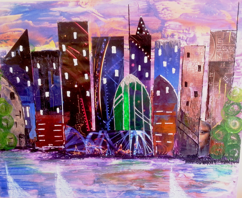 (CreativeWork) Sails at The Harbour by Trudie Moore. Mixed Media. Shop online at Bluethumb.