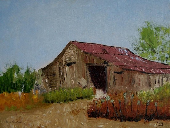 (CreativeWork) OLD  STABLE by Basil Mitchell. Oil Paint. Shop online at Bluethumb.
