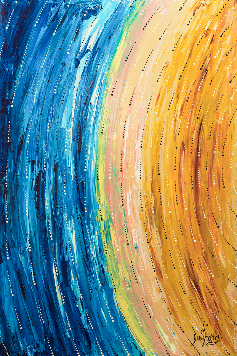(CreativeWork) star trails by Dushong Rohin kickett. Acrylic Paint. Shop online at Bluethumb.
