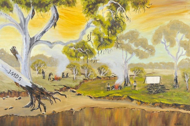 (CreativeWork) Australian Landscape The Camp at Howell's Ponds - John McDouall Stuart Series Ed 1 of 20 Ed. 2 of 20 by Kit McNeill. Print. Shop online at Bluethumb.