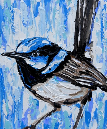 (CreativeWork) Superb Fairy Wren  by Lisa Fahey. Acrylic Paint. Shop online at Bluethumb.