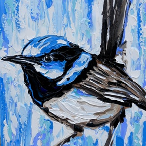 (CreativeWork) Superb Fairy Wren  by Lisa Fahey. arcylic-painting. Shop online at Bluethumb.