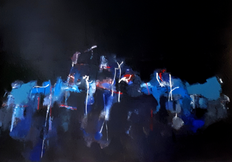(CreativeWork) Angels of a Shipyard by Christos Angelakis. Oil Paint. Shop online at Bluethumb.