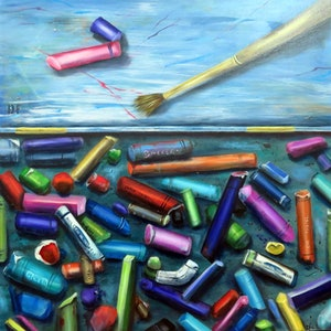 (CreativeWork) A Box of Pastels by Dianne Fix. oil-painting. Shop online at Bluethumb.