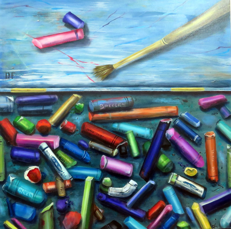 (CreativeWork) A Box of Pastels by Dianne Fix. Oil Paint. Shop online at Bluethumb.