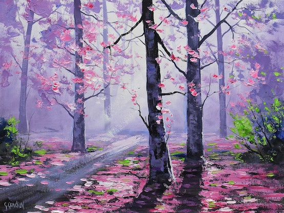 (CreativeWork) Forest track by Graham Gercken. Oil Paint. Shop online at Bluethumb.