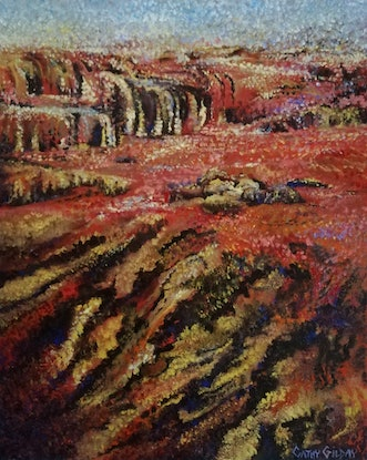 (CreativeWork) Outback on Point by Cathy Gilday. Acrylic Paint. Shop online at Bluethumb.