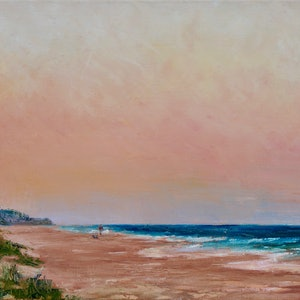(CreativeWork) Dusk at Mt Coolum Beach by Ajay Lack. oil-painting. Shop online at Bluethumb.