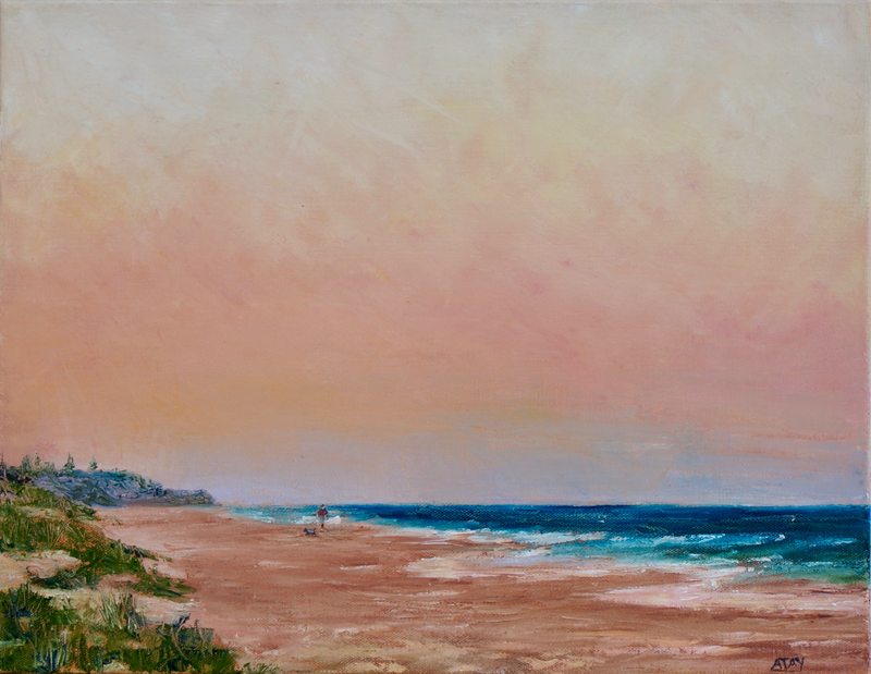 (CreativeWork) Dusk at Mt Coolum Beach by Ajay Lack. Oil Paint. Shop online at Bluethumb.