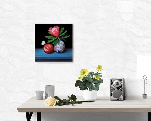(CreativeWork) Pink protea and Red delicious apple - Still life oil painting by Natasha Junmanee. Oil Paint. Shop online at Bluethumb.