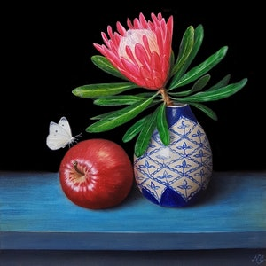 (CreativeWork) Pink protea and Red delicious apple - Still life oil painting by Natasha Junmanee. oil-painting. Shop online at Bluethumb.
