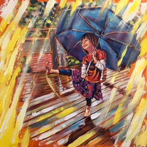 (CreativeWork) Dancing in the rain  by Valentyna Crane. arcylic-painting. Shop online at Bluethumb.