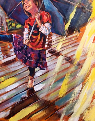 (CreativeWork) Dancing in the rain  by Valentyna Crane. Acrylic Paint. Shop online at Bluethumb.