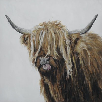 (CreativeWork) highland cow by Naomi Veitch. Acrylic Paint. Shop online at Bluethumb.