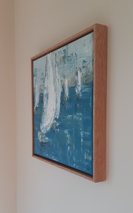(CreativeWork) White sails - sailing boats - Framed by Naomi Veitch. Oil Paint. Shop online at Bluethumb.