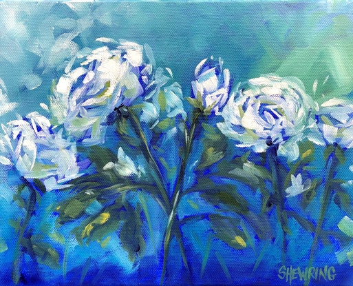 (CreativeWork) Encore - Flowers Series - Blue by Jen Shewring. Oil Paint. Shop online at Bluethumb.