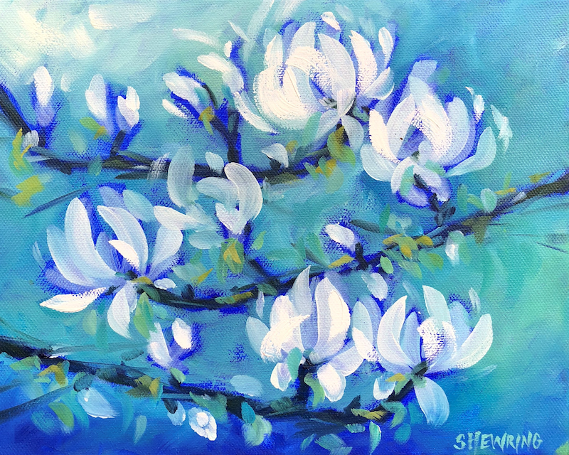 (CreativeWork) Cloud Nine - Flowers Series by Jen Shewring. Oil Paint. Shop online at Bluethumb.