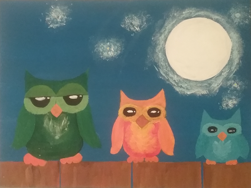 (CreativeWork) Owl be on the fence by Amy Callist. Acrylic Paint. Shop online at Bluethumb.