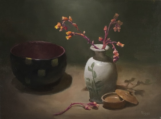 (CreativeWork) still life with Echeveria flower by Robert Riggs. Oil Paint. Shop online at Bluethumb.