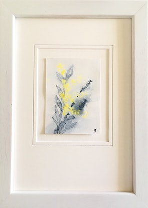 (CreativeWork) Studio View - ACEO Wattle i - Miniature by Kylie Fogarty. Drawings. Shop online at Bluethumb.