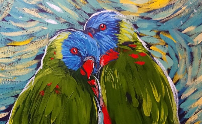 (CreativeWork) Lorikeets Upon a Starry Night   by Rebecca Read. Acrylic Paint. Shop online at Bluethumb.
