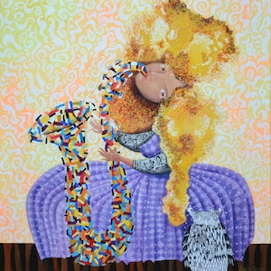 (CreativeWork) Dreamtime jazz - original whimsical painting and pen drawing, ready to hang by Yelena Revis. mixed-media. Shop online at Bluethumb.