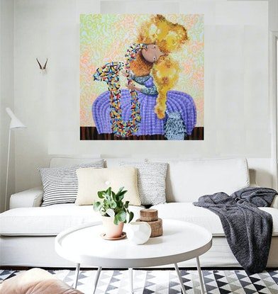 (CreativeWork) Dreamtime jazz - original whimsical acrylic and pen artwork, ready to hang by Yelena Revis. Mixed Media. Shop online at Bluethumb.