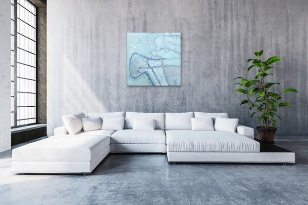 (CreativeWork) Grey sage. by Meredith Howse. Acrylic Paint. Shop online at Bluethumb.