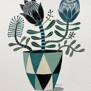 (CreativeWork) Blue Green Proteas and Banksia in Retro Vase by Sally Browne. other-media. Shop online at Bluethumb.