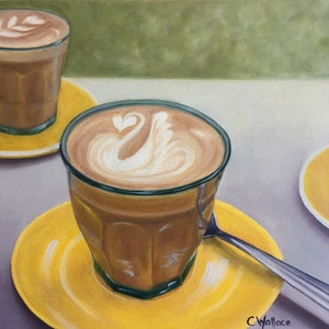 (CreativeWork) Latte Together by Catherine Wallace. oil-painting. Shop online at Bluethumb.