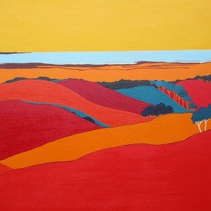 (CreativeWork) Patchwork Hills - was $780 now $730 by Marian Quigley. arcylic-painting. Shop online at Bluethumb.