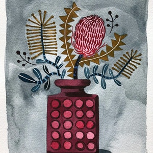 (CreativeWork) Mixed Banksia in retro Vase by Sally Browne. other-media. Shop online at Bluethumb.