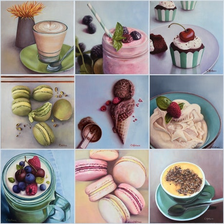(CreativeWork) Cafe Series by Catherine Wallace. Oil Paint. Shop online at Bluethumb.