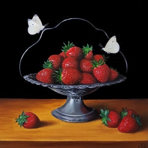 (CreativeWork) Strawberries in pewter basket - Still life oil painting by Natasha Junmanee. oil-painting. Shop online at Bluethumb.