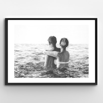 (CreativeWork) Couple in Calm Sea by Ro Geddes. Drawings. Shop online at Bluethumb.
