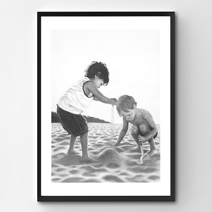 (CreativeWork) Sand Kids by Ro Geddes. Drawings. Shop online at Bluethumb.