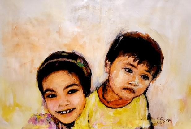 (CreativeWork) Siblings by Rebecca lam. Acrylic Paint. Shop online at Bluethumb.