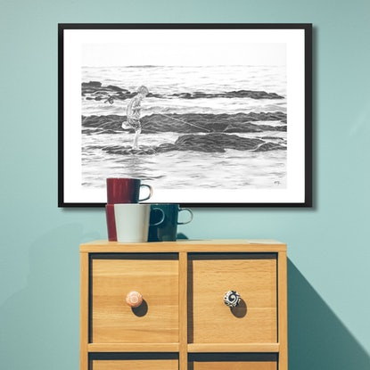 (CreativeWork) Young Angler by Ro Geddes. Drawings. Shop online at Bluethumb.