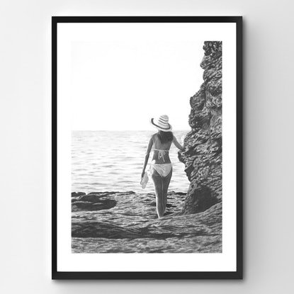 (CreativeWork) Girl on the Rocks by Ro Geddes. Drawings. Shop online at Bluethumb.