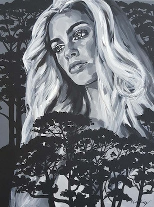(CreativeWork) Black Treetops Blossom by Pascale Garlinge. Acrylic Paint. Shop online at Bluethumb.