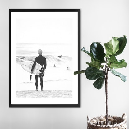 (CreativeWork) Surf Check by Ro Geddes. Drawings. Shop online at Bluethumb.
