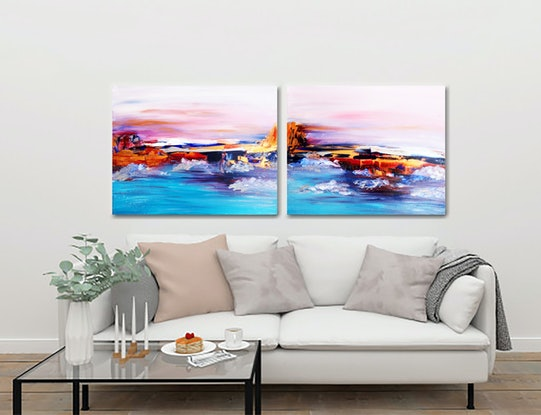 (CreativeWork) Abstract diptych by Anastasiia Sutula. Acrylic Paint. Shop online at Bluethumb.
