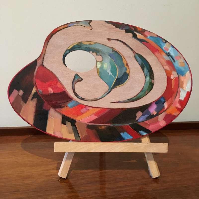 (CreativeWork) 'Native instincts' Wooden palette (2018) by Jackie Moss. Oil Paint. Shop online at Bluethumb.