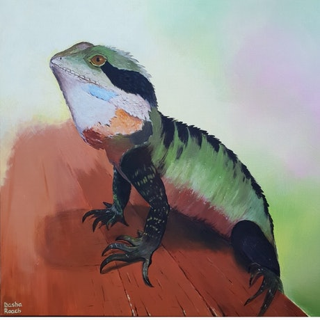 (CreativeWork) Lucky Lizard by Dasha Roach. Acrylic Paint. Shop online at Bluethumb.