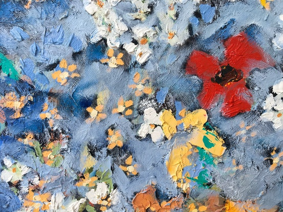 (CreativeWork) Flowers by Meredith Howse. Oil Paint. Shop online at Bluethumb.